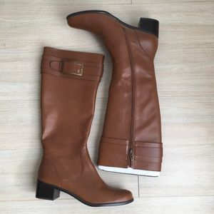 Tahari Brown Leather Tall Riding Boots Womens 11